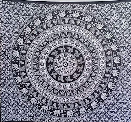 Bless International Indian Hippie Bohemian Psychedelic Mandala Tapestry (Queen (84x90Inches)) (Black and White Elephant)