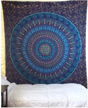 Bless International Indian Hippie Bohemian Psychedelic Mandala Tapestry (Queen (84x90Inches)) (Blue Pharaoh Mandala)
