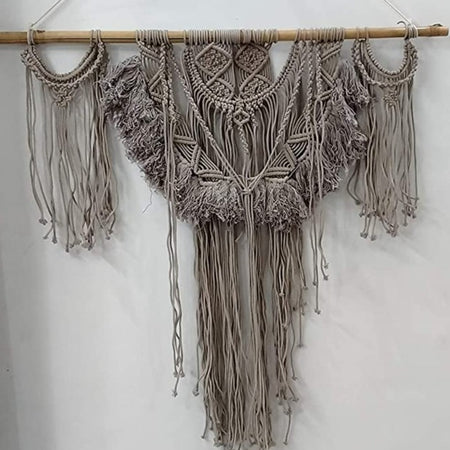"Bless International Macrame Art Size 24"" X 32"" inch- Woven Bohemian Boho Chic Beige Wall Decoration (Gray Colour) for Nursery, House, Dorm Room, Apartment,Office, Party, Wedding Decoration"