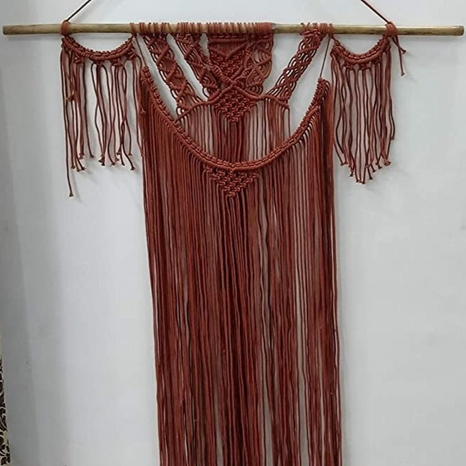 "Maroon Color Macrame Art Size 36"" X 48""inch"