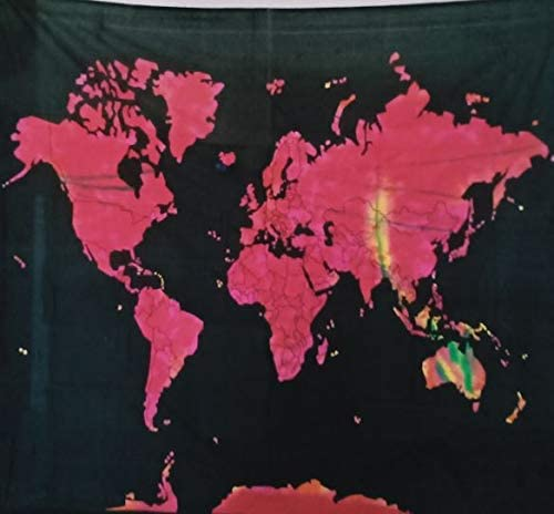 Bless International Indian Hippie Bohemian Psychedelic (Queen (84x90Inches)) (Red Pink World Map Tapestry)