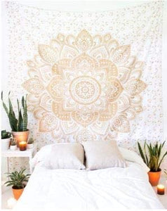 Bless International Indian Hippie Bohemian Psychedelic Tapestry (Queen (84x90Inches)) (Gold Mandala Tapestry)