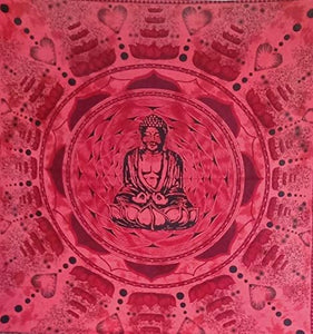 Bless International Indian Hippie Bohemian Psychedelic (Queen (84x90Inches)) (Red Budhha Mandala Tapestry)