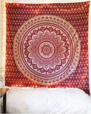 Bless International Indian Hippie Bohemian Psychedelic Tapestry (Queen (84x90Inches)) (Silver Dreams Mandala Tapestry)