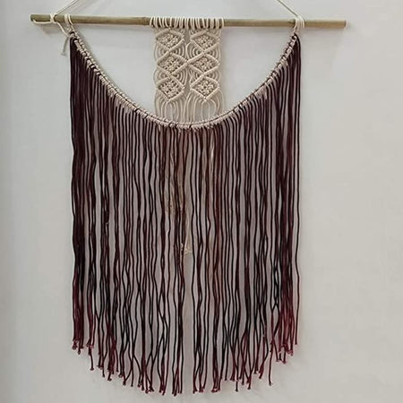 "Bless International Macrame Art Size 24"" X 32"" inch- Woven Bohemian Boho Chic Beige Wall Decoration (Dark Chocolate) for Nursery, House, Dorm Room, Apartment,Office, Party, Wedding Decoration"