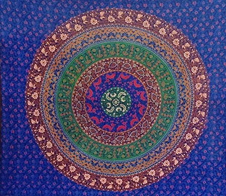 Bless International Indian Hippie Bohemian Psychedelic Mandala Tapestry (Queen (84x90Inches)) (6 Kam Blue Mandala Tapestry)