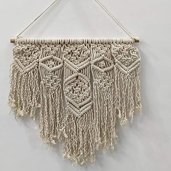 "White Color Macrame Art Size 16"" X 16""inch"