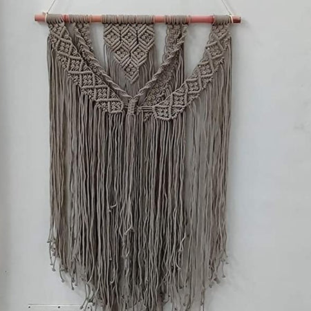 "Bless International Macrame Art Size 24"" X 36""inch- Woven Bohemian Boho Chic Beige Wall Decoration for Nursery, House, Dorm Room, Apartment,Office, Party, Wedding Decoration (Gray Color)"