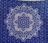 Bless International Indian Hippie Bohemian Psychedelic Mandala Tapestry (Queen (84x90Inches)) (Navy Blue Silver Flower Mandala)