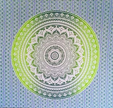 Bless International Indian Hippie Bohemian Psychedelic Tapestry (Queen (84x90Inches)) (Lemon Green Blue Mandala Tapestry)