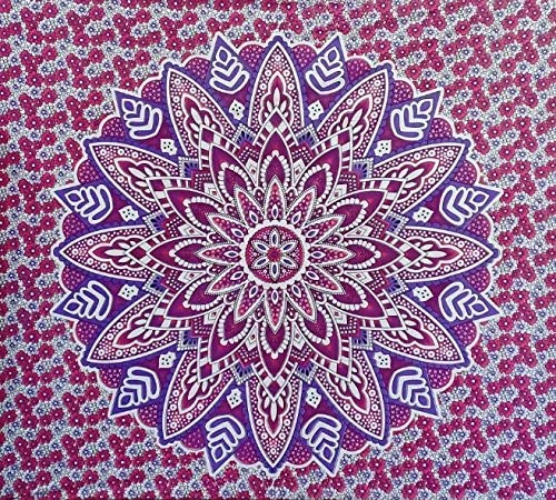 Bless International Indian Hippie Bohemian Psychedelic Mandala Tapestry (Queen (84x90Inches)) (Red Pink Blue Flower)