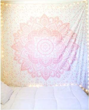 Bless International Indian Hippie Bohemian Psychedelic Tapestry (Queen (84x90Inches)) (Light Sparkly Rose Gold Mandala)