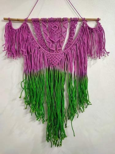 "Pink Green Color  Macrame Art Size 24"" X 32""inch"