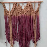"Pink White Cream Color Macrame Wall Hanging Art Size 36"" X 48"" inch"