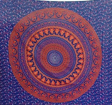 Bless International Indian Hippie Bohemian Psychedelic Mandala Tapestry (Queen (84x90Inches)) (Maroon Teda Mor Mandala)