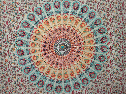 Peacock Mandala Digital HD Print Twin Tapestry(57x50 Inches)