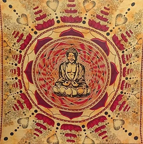 Bless International Indian Hippie Bohemian Psychedelic Mandala Tapestry (Queen (84x90Inches)) (Orange Red Buddha Mandala)