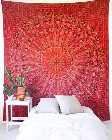 Bless International Indian Hippie Bohemian Psychedelic Mandala Tapestry (Queen (84x90Inches)) (Red Mandala Tapestry)