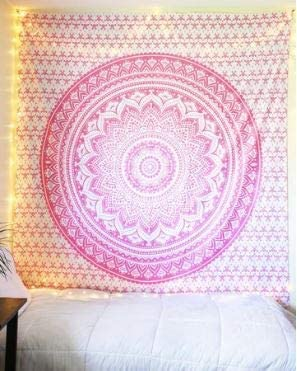 Bless International Indian Hippie Bohemian Psychedelic Tapestry (Queen (84x90Inches)) (Sparkly Pink Mandala Tapestry)