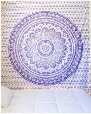 Bless International Indian Hippie Bohemian Psychedelic Tapestry (Queen (84x90Inches)) (Purple Glitter Tapestry)