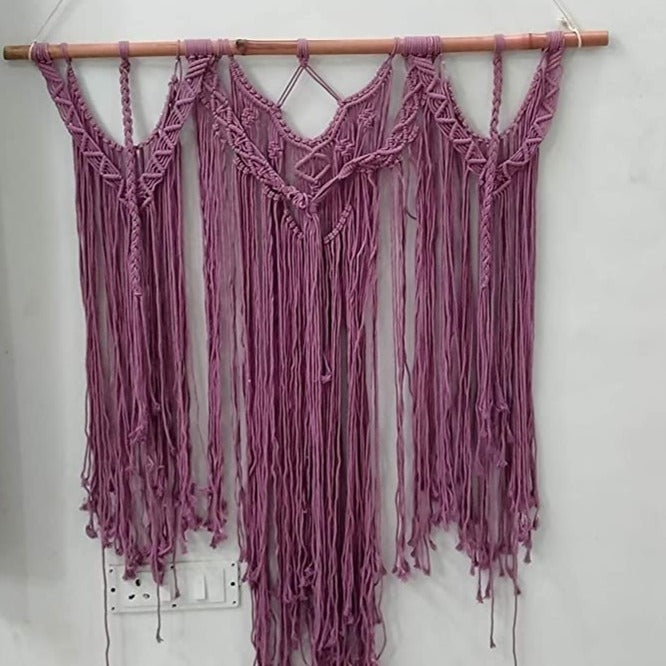 "Purple Color Macrame Art Size 36"" X 48""inch"