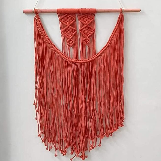 "Red Colour Macrame Art Size 24"" X 32"" inch"