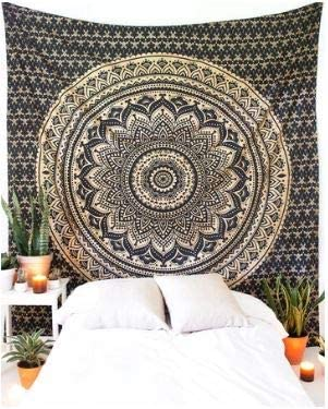 Bless International Indian Hippie Bohemian Psychedelic Tapestry (Queen (84x90Inches)) (Black & Gold Glitter Tapestry)