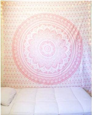 Bless International Indian Hippie Bohemian Psychedelic Tapestry (Queen (84x90Inches)) (Sparkly Pink Rose Gold Mandala)