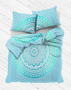 GREEN-TEAL OMRA QUEEN SIZE 100% COTTON DUVET COVER