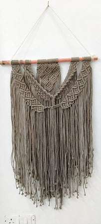 "Bless International Macrame Art Size 24"" X 36""inch- Woven Bohemian Boho Chic Beige Wall Decoration for Nursery, House, Dorm Room, Apartment,Office, Party, Wedding Decoration (Brown - Derby)"