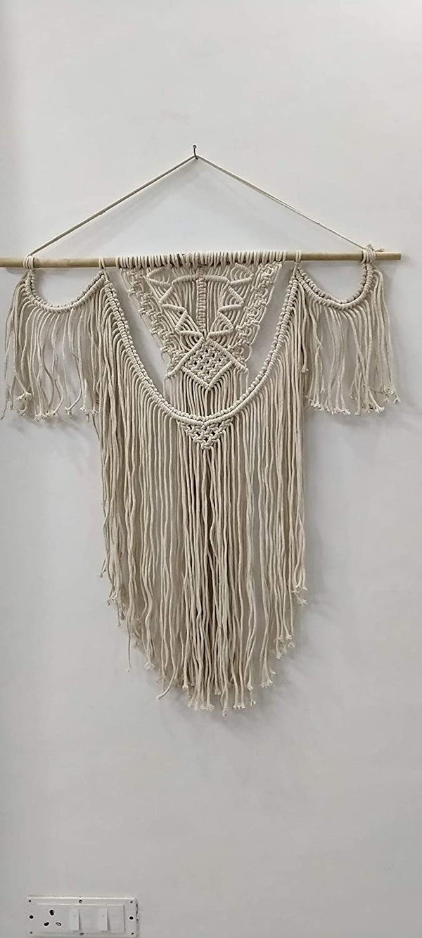 "White  Color Macrame Art Size 24"" X 32""inch"