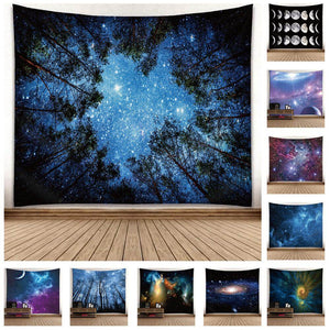 Digital HD Radiant Forest Polyester Tapestry (Twin((72x41 Inches)(183x104cms))
