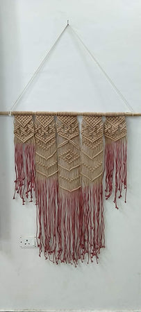"Bless International Macrame Art Size 36"" X 40"" inch- Woven Bohemian Boho Chic Beige Wall Decoration (Brown Maroon) for Nursery, House, Dorm Room, Apartment,Office, Party, Wedding Decoration"