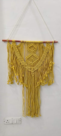 "Bless International Macrame Art Size 24"" X 32"" inch- Woven Bohemian Boho Chic Beige Wall Decoration (Yellow Colour) for Nursery, House, Dorm Room, Apartment,Office, Party, Wedding Decoration"