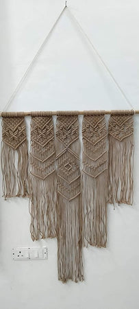 "Bless International Macrame Art Size 36"" X 40"" inch- Woven Bohemian Boho Chic Beige Wall Decoration Tapestry for Nursery, House, Dorm Room, Apartment,Office, Party, Wedding Decoration"