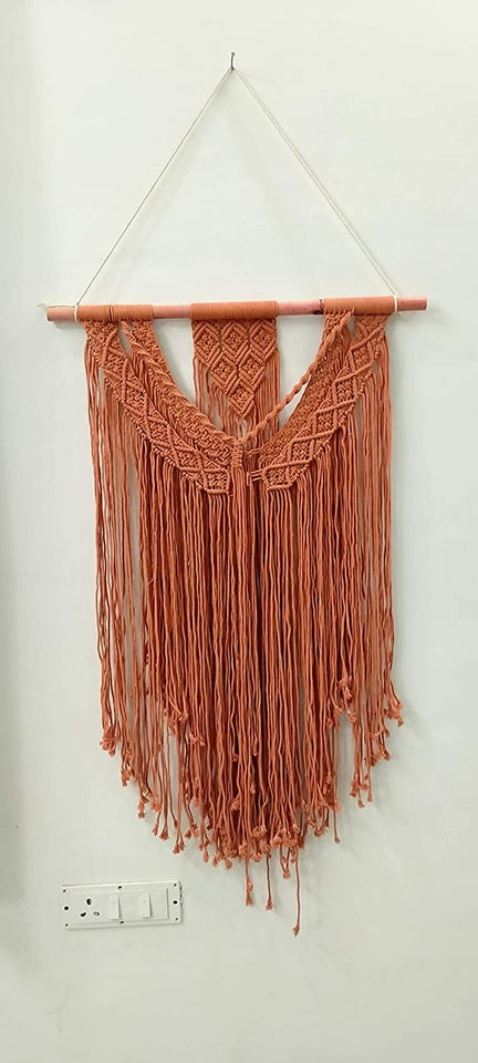 "Red-Orange Macrame Art Size 24"" X 36""inch"
