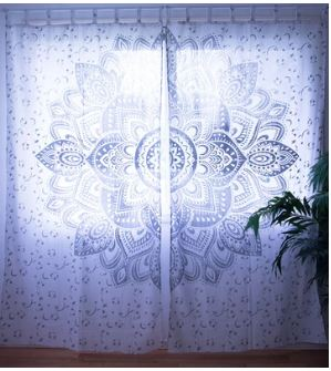 Silver Flower Mandala Curtain