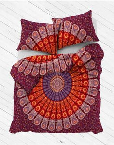 Maroon Dreams Mandala Duvet Cover
