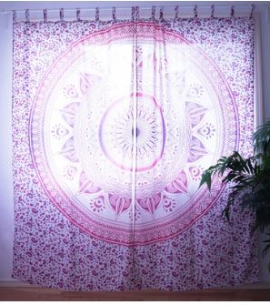 Warm Pink Flower Summer Mandala Curtain