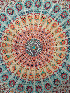 Peacock Mandala Digital HD Print Twin Tapestry(84x54 Inches)