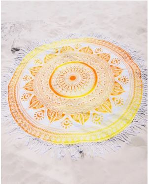 Yellow Orange  Sun mandala  Roundie 70 Inch