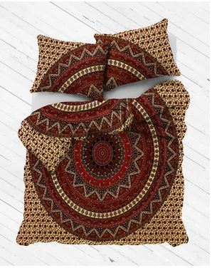 Tan Galaxy Mandala Duvet Cover