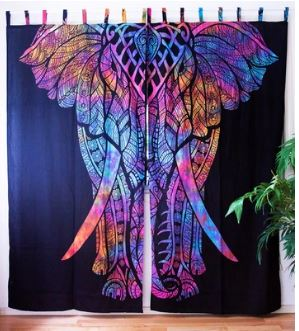Tie Dye Multi Colored Elephant Curtains