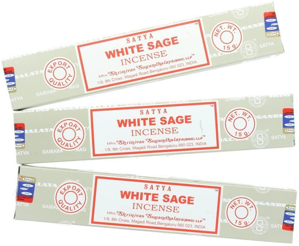 Satya Sai Baba White Sage 15 GM   3 Packs  Agarbatti Pack Each Hand Rolled Agarbatti Fine Quality Incense Sticks for Purification, Relaxation, Positivity, Yoga, Meditation