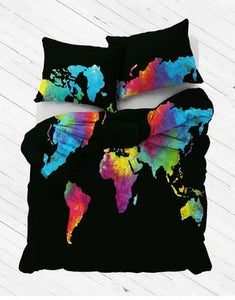 Summer Tie Dye World Map Duvet Cover
