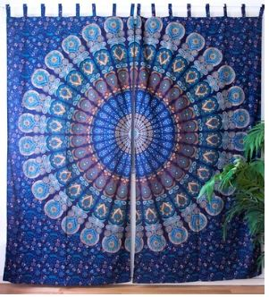 Teal Blue Peacock Mandala Festival Curtains