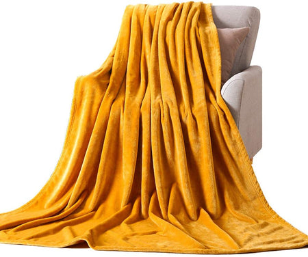 Bless International Throw Bed Blankets, Ultra Soft Thick Microplush Bed Blanket, All Season Premium Fluffy Microfiber Fleece Throw for Sofa Couch (Queen Size 84x92 Inch, Ginger Yellow)