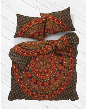 Green & Orange Mandala Duvet Cover