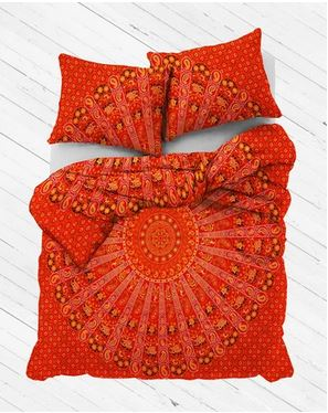 Red Elephant Mandala Duvet Cover