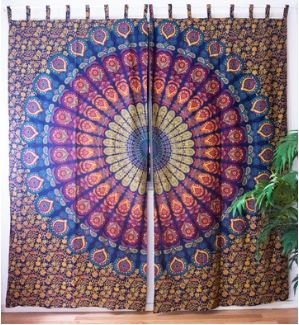 Tropical Golden Peacock Mandala Curtains